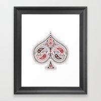 83 Drops - Spades (Red &… Framed Art Print