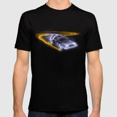 Neon Back to the Future Black Mens Fitted Tee SMALL