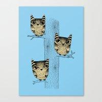 Owls (blue) Canvas Print