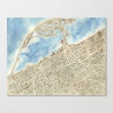 Watercolor Map Erie Pennsylvania sepia and indigo Canvas Print