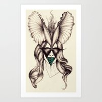 Petal headpiece with embroidered mask  Art Print