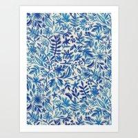 Floating Garden - a watercolor pattern in blue Art Print