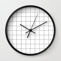 Black And White Grid Wat… Wall Clock