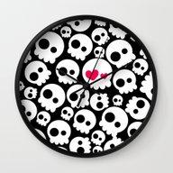 A Skull In Love Wall Clock