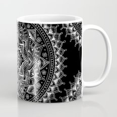 White Flower Mandala on Black Mug