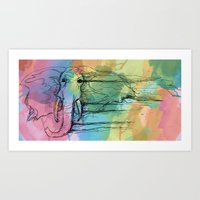 Watercolor For Elephants… Art Print