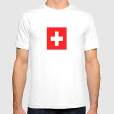 flag of Switzerland Mens Fitted Tee White SMALL
