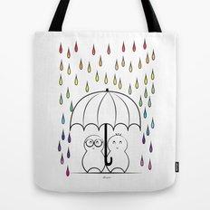 Mimos under Rainbow rain Tote Bag