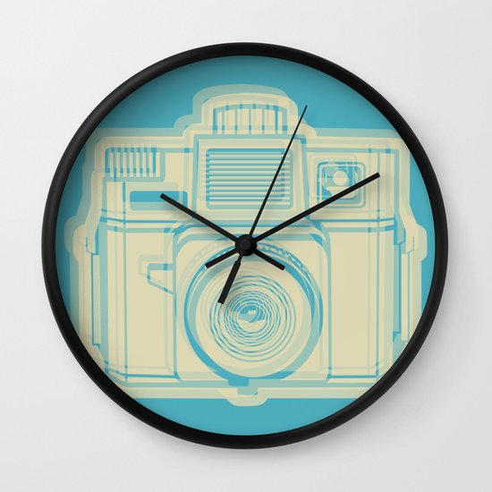 I Still Shoot Film Holga Logo - Turquoise/Tan Wall Clock