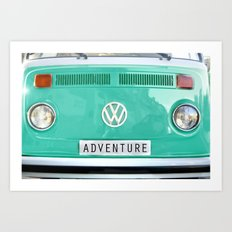 Adventure wolkswagen. Summer dreams. Green Art Print
