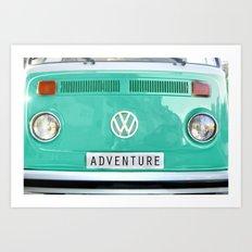 Adventure wolkswagen. Summer dreams. Green Art Print