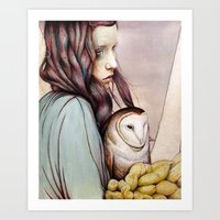 owl Art Prints featuring The Girl and the Owl by Michael Shapcott