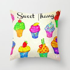 SWEET THANG - Cupcakes Sweet Sugary Goodness, Yummy Treat Romantic Colorful Bakery Illustration Throw Pillow