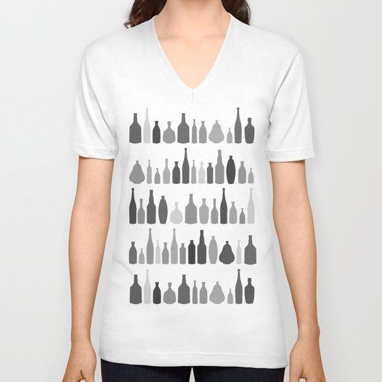 Bottles Black and White on White V-neck T-shirt