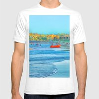 Abstract summer fun and surf rescue boat Mens Fitted Tee White SMALL
