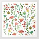 Floral pattern with ladybugs Art Print