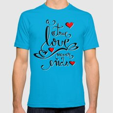 Valentine Love Calligraphy and Hearts Mens Fitted Tee Teal SMALL