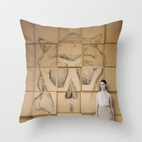 Space In Boxes With A Mo… Throw Pillow
