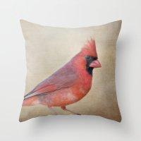 The Red Cardinal Throw Pillow