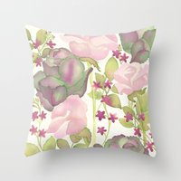 Autumn Bouquet - Kale & Rose Throw Pillow
