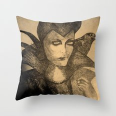 maleficent sketch Throw Pillow