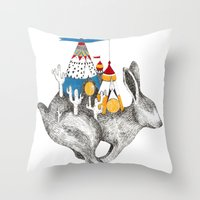 Rabbit On A Holiday Throw Pillow