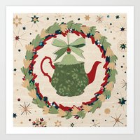 Christmas Teapot inside the Wreath  Art Print