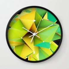 Polygons green Abstract Wall Clock