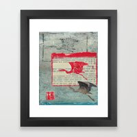 Blue Heron Collage Framed Art Print