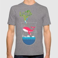 Nature Whale Mens Fitted Tee Tri-Grey SMALL