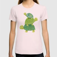 Turtle Stack Womens Fitted Tee Light Pink SMALL