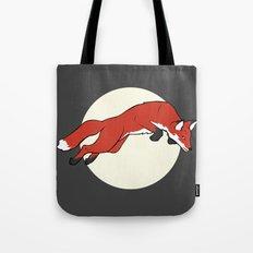 Night Fox Flies over the Moon Tote Bag