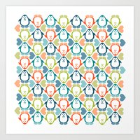 NGWINI - penguin love pattern 5 Art Print