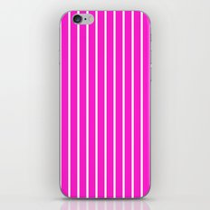 Vertical Lines (White/Hot Magenta) iPhone & iPod Skin