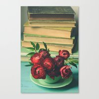 Books and Flowers Canvas Print