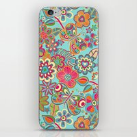 My flowers and butterflies in blue.  iPhone & iPod Skin