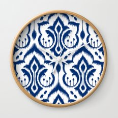 Ikat Damask Navy Wall Clock