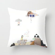 Hermit Crab vs. Snail Throw Pillow