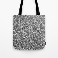 Abstract Lace On Black Tote Bag