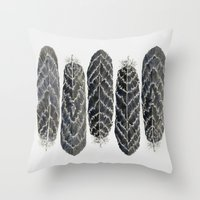 Black Stripe Feathers Throw Pillow
