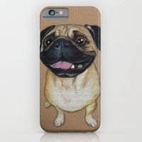 iPhone & iPod Case featuring Pug Dog by PaperTigress