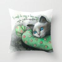Lazy Cat Throw Pillow