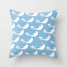 Joyful Dolphin Dancing in the Ocean Throw Pillow