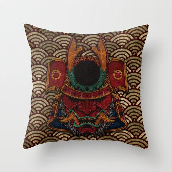 samurai mask Throw Pillow