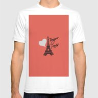 Paris Eiffel Tower Mens Fitted Tee White SMALL