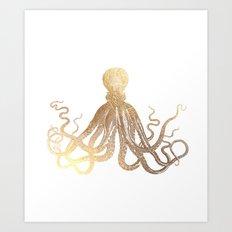 Gold Octopus  Art Print