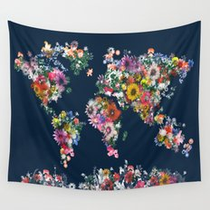 world map floral Wall Tapestry