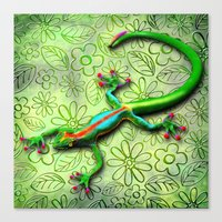 Gecko Lizard Rainbow Col… Canvas Print