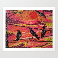 Birds On A Wire - Vintag… Art Print