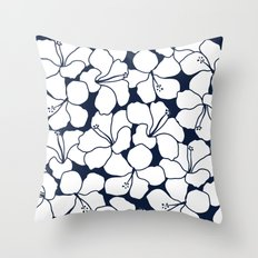 Hibiscus Flowers Navy Ivory Throw Pillow